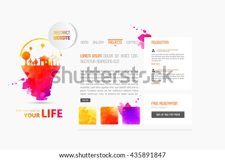 Abstract minimalistic website template or interface. Vector graphics. - stock vector
