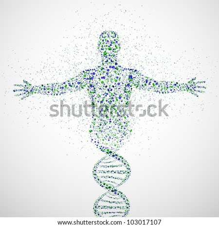 Abstract model of man of DNA molecule. Eps 10 - stock vector