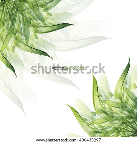 Abstract modern background with flower. Floral abstract vector background with green leaves - stock vector