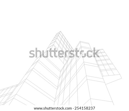 Abstract modern building. Architecture concept sketch.  - stock vector