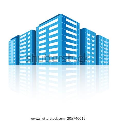 Abstract modern city. Icon. Illustration, vector. - stock vector