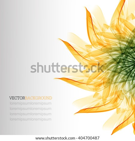 Abstract modern floral background with flower. Floral abstract vector background with green and orange leaves - stock vector