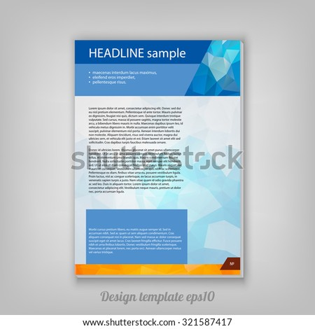 Abstract modern geometric colorful booklet design from triangular faces on grey background - stock vector