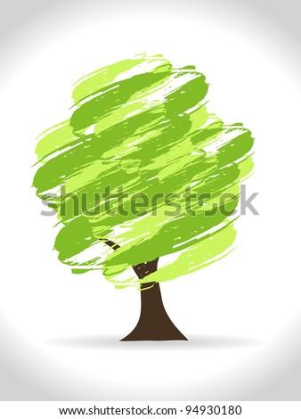 Abstract modern hand drawn green tree. Vector illustration - stock vector