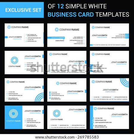 abstract modern large collection of Blue business card template designs with logo icons for business visual identity - stock vector