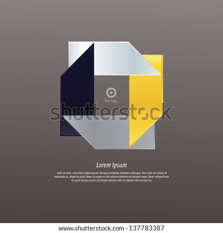 Abstract modern logo template. Icon for your company. Much space for your content. Elegant website icon. Fresh contrast colors. Corporate identity, thematic symbol. Four labels. Luxury colors. - stock vector