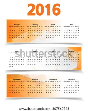 Abstract Modern Orange Triangular Polygonal 2016 calendar  - stock vector