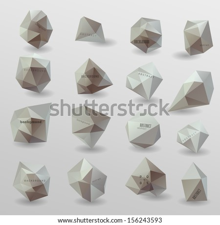 Abstract modern  polygonal bubble, label website header or banner vector set// can be used for website, info-graphics - stock vector