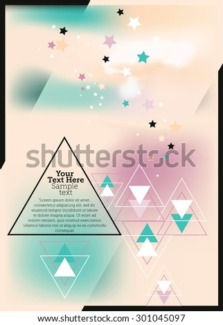 Abstract modern vector background with clouds, stars and triangles. Space for text - stock vector
