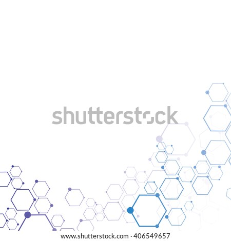 Abstract molecular connection. Technology connection. Connection of  hexagonal cells. - stock vector