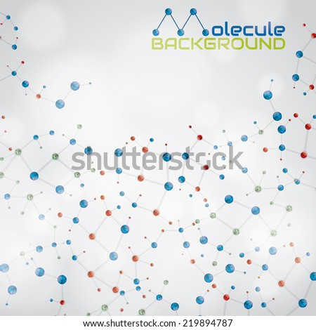 Abstract molecule green blue red light colors background  - stock vector