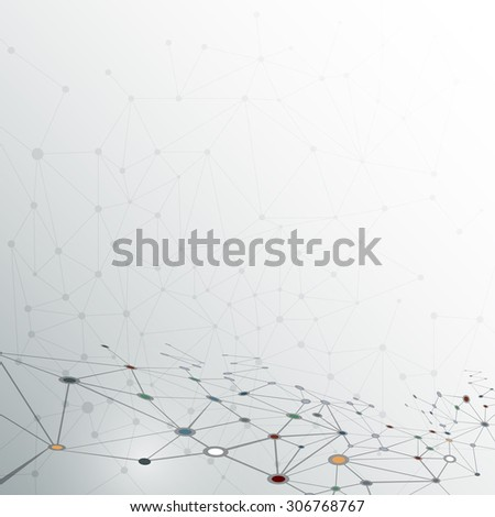Abstract molecule structure on light gray color background. Vector illustration of Communication - network for futuristic technology concept - stock vector
