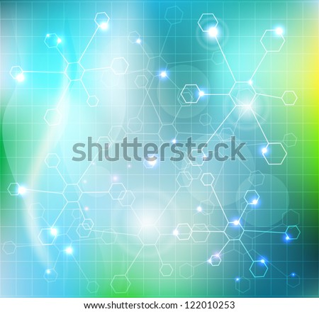 Abstract molecules wallpaper, medical background. Beautiful blue color combination with transparent molecules and lights. - stock vector