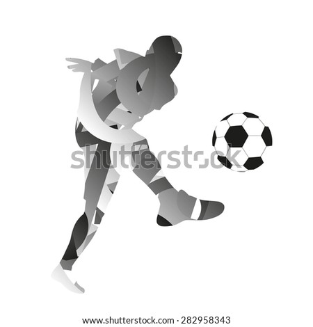 Abstract monochromatic soccer player - stock vector