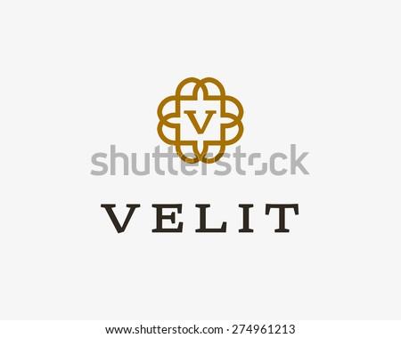 Abstract monogram elegant flower logo icon vector design. Universal creative premium letter symbol. Graceful vector sign. - stock vector