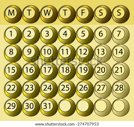 Abstract monthly calendar days of the week - stock vector