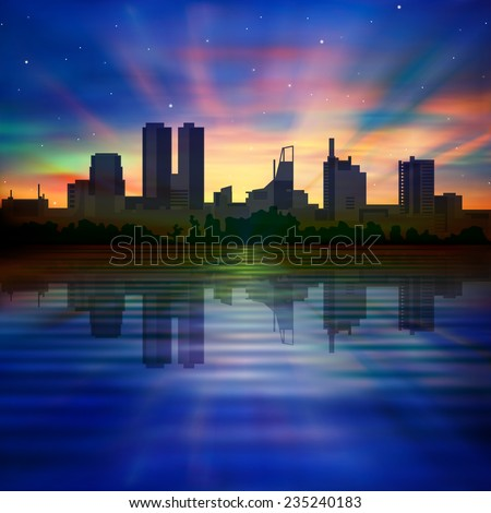 abstract morning background with silhouette of city and sunrise - stock vector