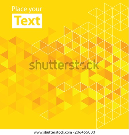 Abstract mosaic background. Hot yellow cubic geometric background. Design elements. Layered file - stock vector