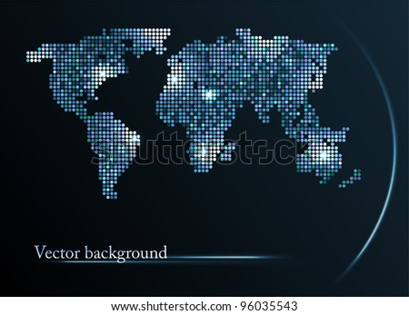 Abstract mosaic background with map of the world - stock vector