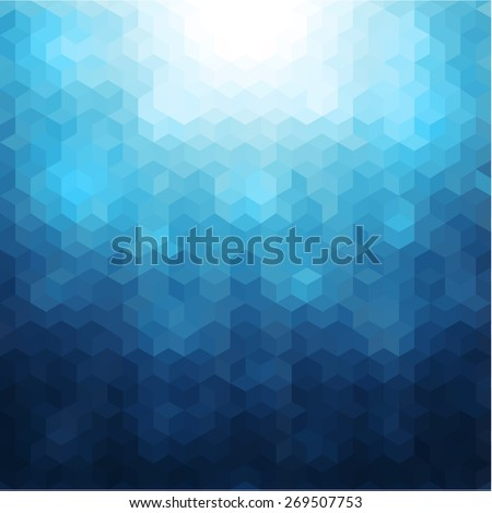 Abstract mosaic geometric blue background - stock vector