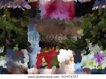 Abstract mosaic painted colors with red and blue.Mosaic background. Abstract nature backdrop. Oil painting simulation with mosaic elements. - stock vector