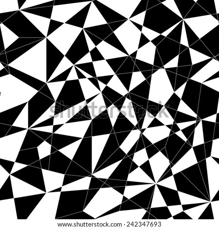 Abstract mosaic pattern with triangles. Seamless vector. Stylized texture with black and white lines and triangles. Monochrome puzzle background for decoration or backdrop. Unstable composition. - stock vector