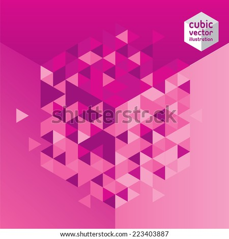 Abstract mosaic rose cubic geometric background. Design elements. Layered file - stock vector