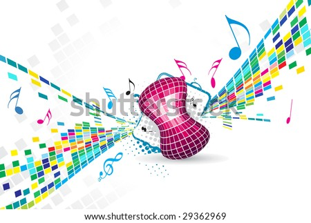 abstract mosaic vector composition with music theme - stock vector