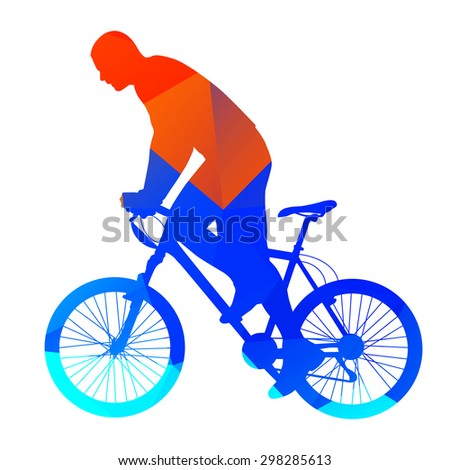 Abstract mountain bicycle rider - stock vector