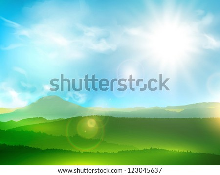 Abstract Mountain Landscape With Sun Shine and Blue Sky - stock vector