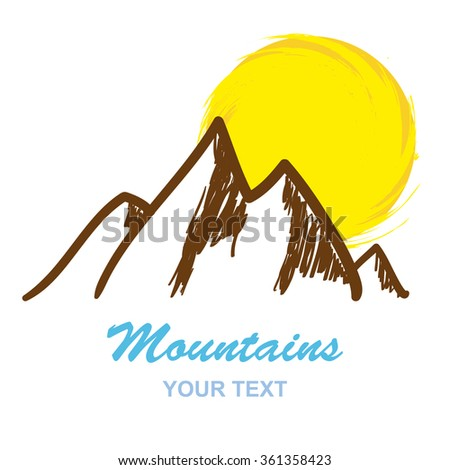 Abstract mountains logo isolated on white background, vector illustration - stock vector