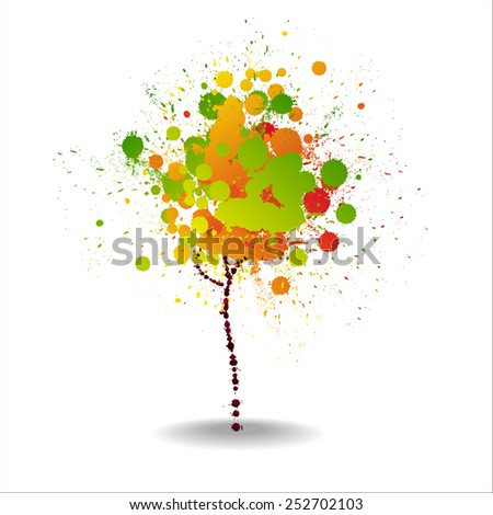 Abstract multicolored background. Tree. - stock vector