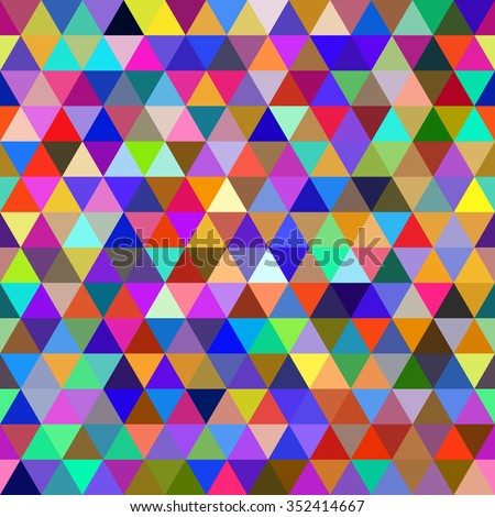 Abstract multicolored geometric seamless pattern of triangles - stock vector
