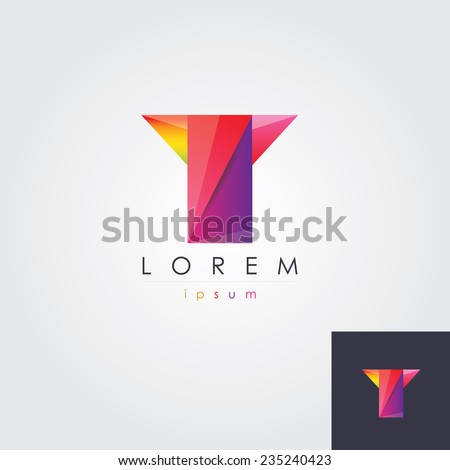 abstract multicolored letter t logo element for business company visual identity - stock vector