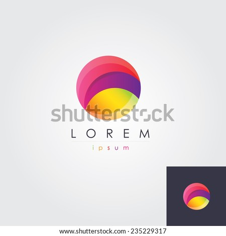 abstract multicolored  round circle letter o logo element icon for business visual identity - stock vector