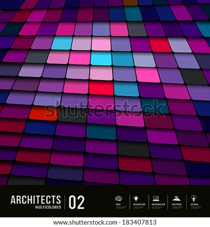 Abstract multicolored tiles materials purple background design, vector illustration - stock vector