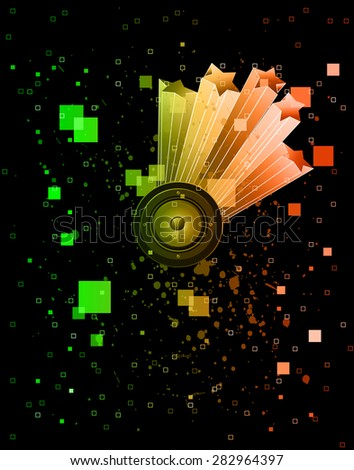 Abstract music background for disco flayer with colorful elements. Ideal for posters and background music. - stock vector