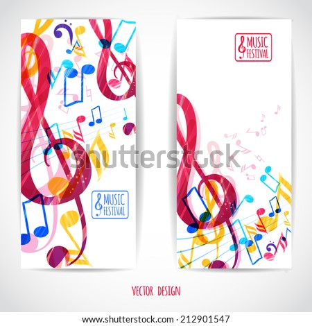 Abstract music background treble clef and various music notes, vector illustration, flyer set design  - stock vector