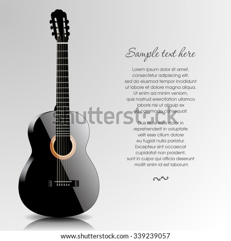 Abstract music background with black guitar. Vector illustration - stock vector