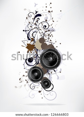 abstract music background with floral elements and swirls - stock vector