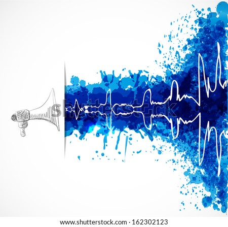 Abstract music background with loudspeaker and oscillation on blue grunge splashes. Vector illustration. - stock vector