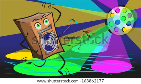 Abstract music background with speaker. Vector Clip-art - stock vector