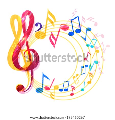 Abstract music background with various music notes and treble clef, vector illustration  - stock vector