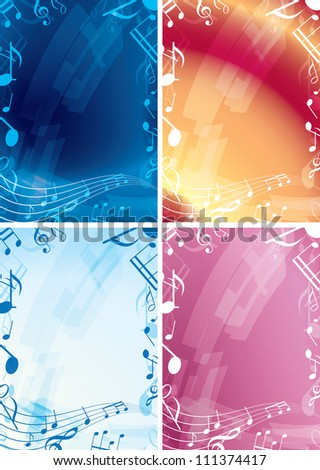 abstract music backgrounds - set of vector frames - stock vector
