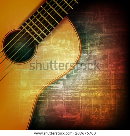abstract music grunge vintage background with acoustic guitar - stock vector