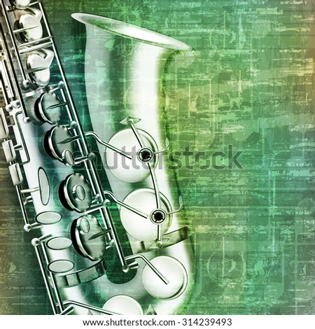 abstract music grunge vintage background with saxophone vector illustration - stock vector