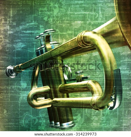 abstract music grunge vintage background with trumpet vector illustration - stock vector