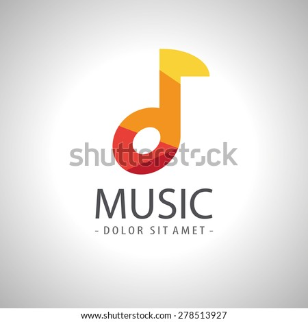 Abstract music note icon logo - stock vector