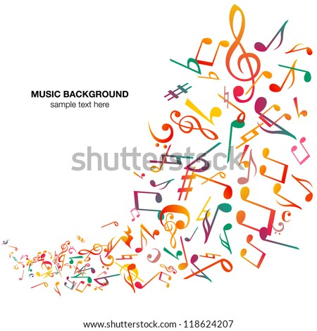 Abstract music notes background , vector - stock vector