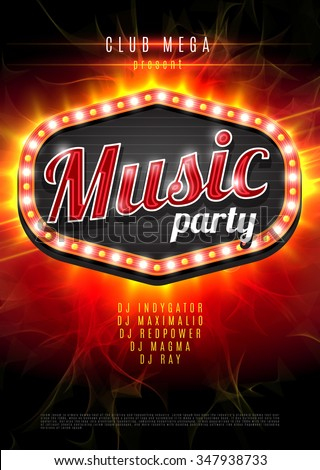 Abstract music party background for music event design. Retro light frame on red flame background. vector illustration - stock vector